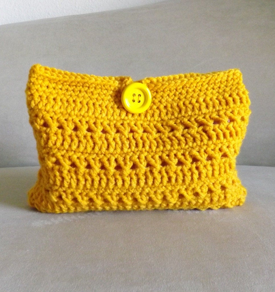 Crochet gold make up bag crochet cosmetic bag crochet mini