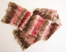 Nuno Felted Scarf - Off white , chocolate brown , hot chocolate, and coral - nuno felted merino and silk scarf