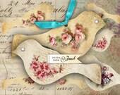 Birds radio - digital collage sheet - set of 2 sheet - Printable Download