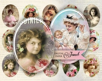 Madame - oval image - 30 x 40 mm or 18 x 25 mm - digital collage sheet  - Printable Download