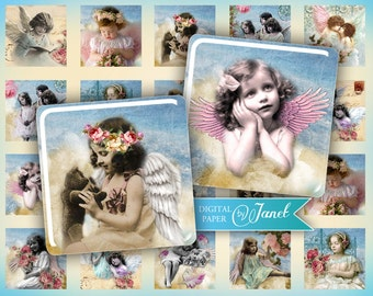 Angels - squares image - digital collage sheet - 1 x 1 and 2 x 2 inch - Printable Download