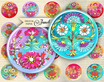 FlowerPaint - circles image - digital collage sheet - 1 x 1 inch - Printable Download
