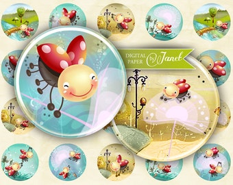 Ladybug - circles image - digital collage sheet - 1 x 1 inch - Printable Download