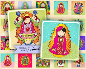 Virgencita - squares image - digital collage sheet - 1 x 1 inch - Printable Download