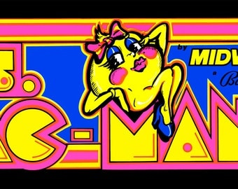 "Ms. Pac Man Marquee, Arcade, 12 x 36"" Video Game Poster, Print"