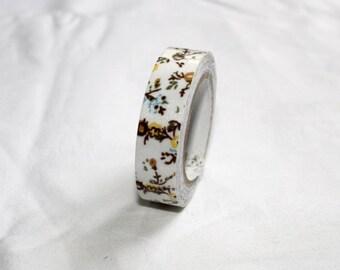 brown flower deco self adhesive packaging tape