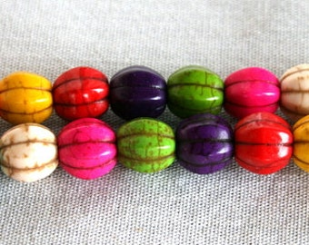 10mm Mixed Color Magnesite Howlite Melon Beads