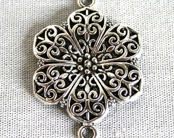 4 Beautiful Silver Filigree Flower Connectors/Links Charms/Pendants