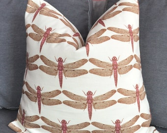 Pillow Cover, Decorative Pillow, Throw Pillow, Toss Pillow, Sofa Pillow, Dragonfly, Insect, Bug, 14x14 inch, Home Furnishing, Home Decor