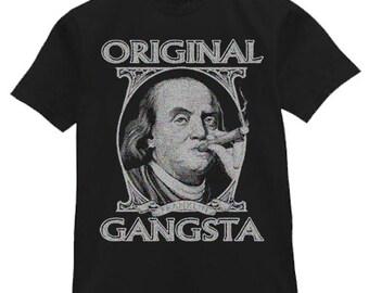 Mens T-shirt / Benjamin Franklin Original Gangsta