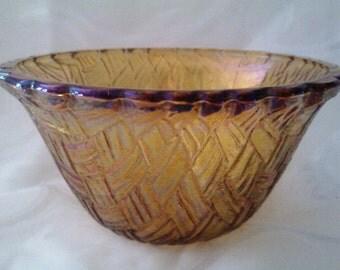 Thanksgiving Marigold Depression Glass Bowl/ Carnival Glass compote dish/ Marigold basket weave pattern