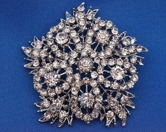 Snowflake Pin - Frozen Pin - Frozen Crystal Brooch - Frozen Accessories - Bouquet Brooch - Wedding Brooch - RC 36