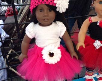 American Girl Doll Tutu Pink and White Tutu