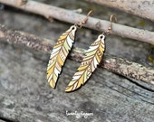 Wood native earrings - feather (laser cut)