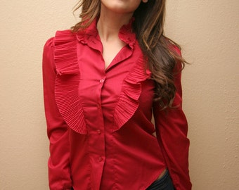 Retro Blouse Red Western Top Women's Small/Medium