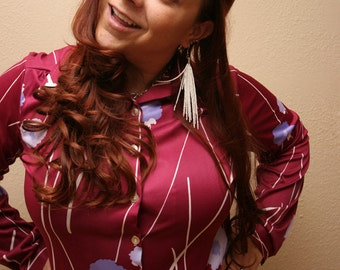 Maroon Vintage Shirt Women's Retro Button Up Top with Floral and Striped Pattern