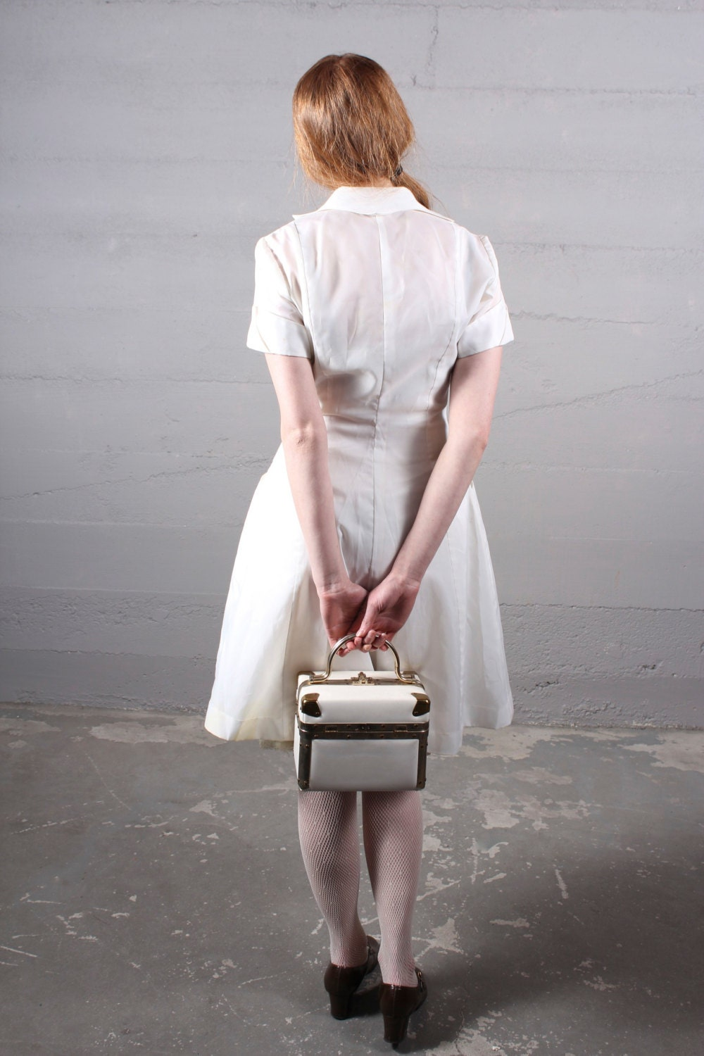 Hello Nurse Vintage 50s White Nylon Dress Tiffs