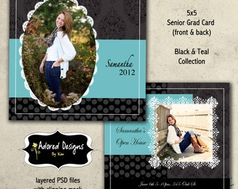 Instant Download Graduation Photoshop Template  - One 5x5  Girl Senior Card front and back (black & teal collection card 1)