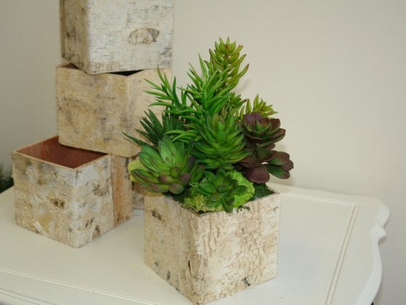 rustic natural birch bark wood vases basket flower pot home decor rustic chic wedding succulents centerpieces wood boxes