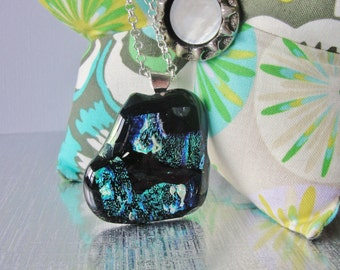 "Dichroic Fused Glass Pendant Necklace Turquoise Blue Green Black Organic Shape 24"" Silver Chain and Bail"