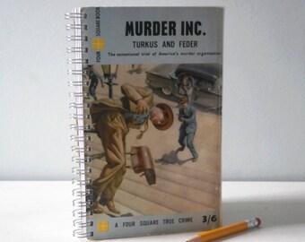 Vintage Notebook Journal spiral bound Crime Upcycled