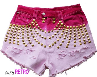 Hot Pink Ombre High Waisted Gold Studded Shorts Size 28