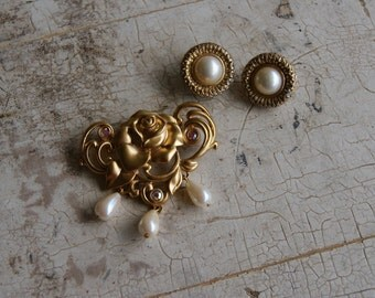 Avon Gold And Pearl Brooch Pin Rose And Trifari Clip on Earrings Set