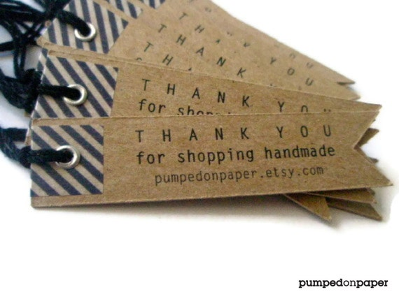 kraft gift tags - personalized pennant flag - with washi tape - set of 20