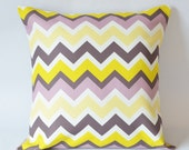 Yellow gray purple chevron,Pillow cover--decorative pillow--throw pillow--18x18 inches
