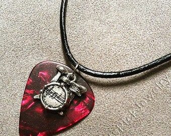 Drum Kit Drums Charm on Red Pearl Genuine Guitar Pick Necklace
