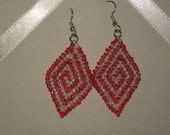 Diamond Shaped Earrings - Red and White