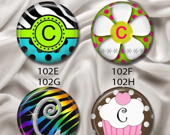 """Initial """"C"""" - Young and Fun, Interchangeable Magnetic Design Inserts - FIT Clique and Magnabilities 1"""" Pendant Jewelry Bases...102"""