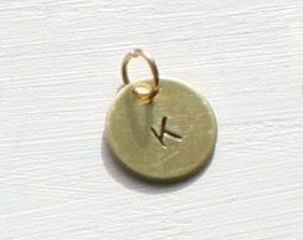 Tiny Brass Initial Charm CUSTOM Add a tag You Pick Design charm