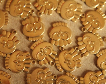 6 pc. Raw Brass Chubby Owl Charms: 16mm by 12mm - made in USA | RB-105