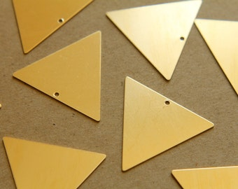 4 pc. Large Raw Brass Triangles - Top Center Hole: 32mm by 32mm - made in USA | RB-151