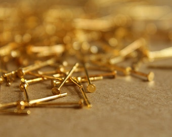 100 pc. Gold Plated Earring Posts, 2mm pad - FI-028-2