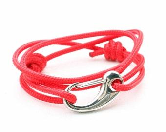 Nautical Jewelry, Rope Bracelet, Adjustable Nautical Bracelet,  Sailing Snap Hook Bracelet,   Surfing, Beach Bracelet Red