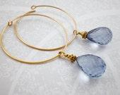 Blue Quartz Gold Hoop Ear...