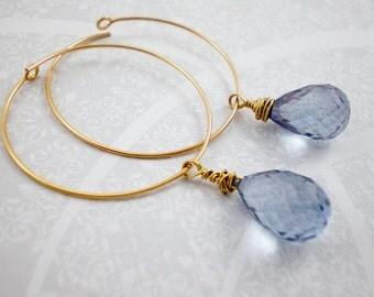 Blue Quartz Gold Hoop Earrings, Gold Dangle Earrings, Wedding Earrings, Bridal Jewlery, inv80