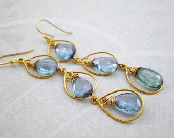 Blue Quartz and Topaz Gemstones Gold Vermeil Teardrops, Gold Dangle, Bridal Blue Earrings, Bridesmaid Jewelry, inv77