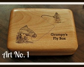 FLY FISHING BOX - Personalized - Fly fisherman & trout - Art No. 1