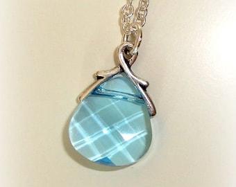 Handmade Glass Necklace - Swarovski Crystal Necklace - Briolette in Light Blue Colour - Swarovski Pendant Drop - Sky Blue Ocean