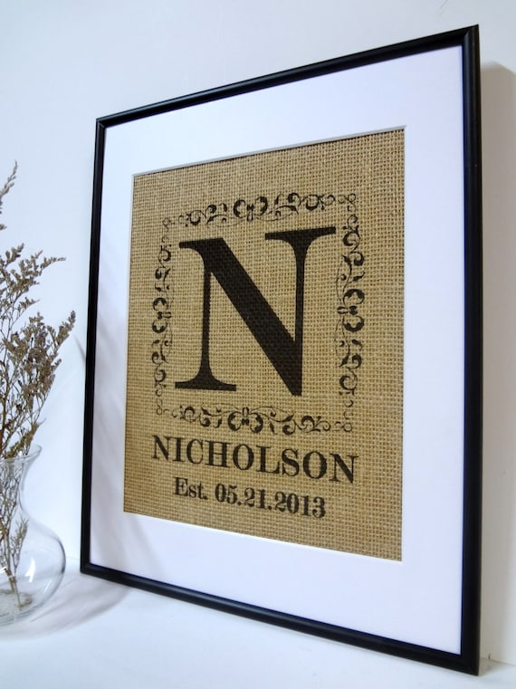 Personalized Burlap Monogram Family Name Established date print or sign