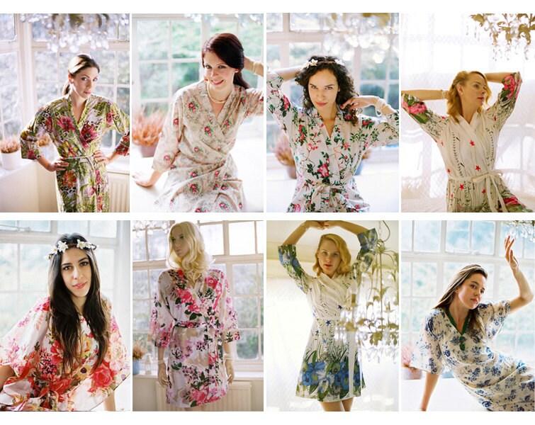 Set of 5 Custom lined Bridesmaid kimono robes. Bridesmaids