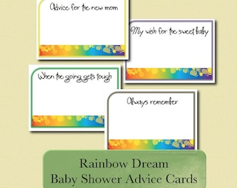 Baby Shower Advice Cards - Rainbow Dream - digital download printable