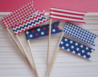 Patriotic / Memorial Day / 4th of July /red white and blue / cupcake  toppers / food picks / set of 24