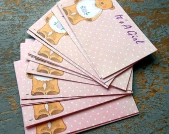 Vintage Florist Cards, It's a Girl, Birth Announcement, Teddy Bear, Pink, Polka Dots, Florist Supplies, Insert,  Gift Tags, Unused, 16 Cards