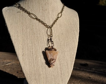 wire wrapped arrow head necklace.