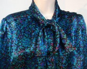 Vintage Ladies Long Sleeve Button Down Shiny Dress Blouse with Tie Teal Blue Black Pink 10