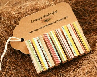 Rustic Clothespin Clips, Country Colors, Set of 9